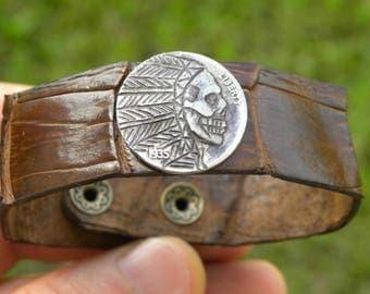 Vintage Hobo Nickel art skull coin Genuine brown vintage  Alligator leather  cuff bracelet bangle   wristband customize to wrist size biker