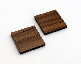 2 Square Blank Beads : Walnut
