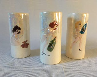 Set of 3 novelty ceramic naked lady cups