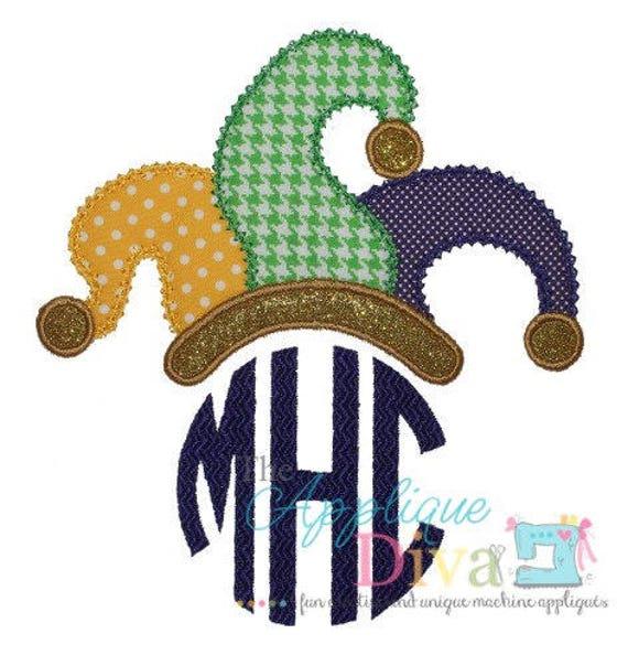 Mardi Gras Jester Hat Monogram Applique, Jester Hat Applique, Mardi Gras Applique, Mardi Gras Shirt