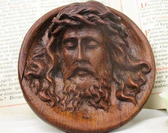 Wall Plaque Tile hand Carved Wood Jesus Christ Head of Thorns Art Sculpture