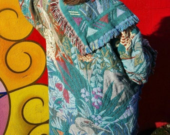 Vintage 80's 90's Bohemian Floral Design Blanket Coat