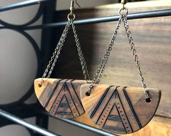 Boho Half Moon Earrings--Ecuadorian Teak
