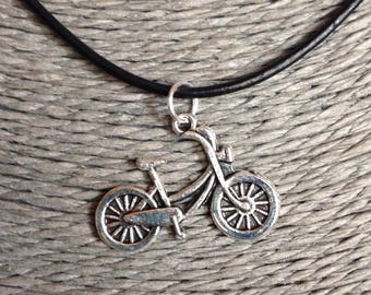 Bicycle Leather Cord Necklace, Bicycle Necklace, Fathers Day Gift
