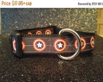 CLEARANCE Avengers Captain America Dog Collar, heavy-duty nylon adjustable, S-M