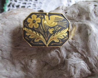 Vintage Damascene Japanese Bird  Floral Brooch Pin Black and Gold Tone Accents