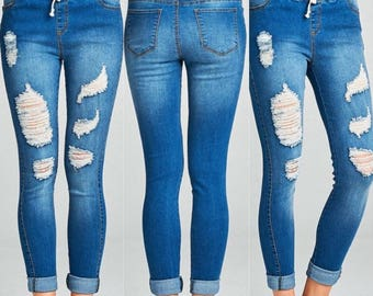 PREORDER DRAWSTRING JEGGINGS, Distressed Jeans, Ripped Jeans, Comfy Jeggings