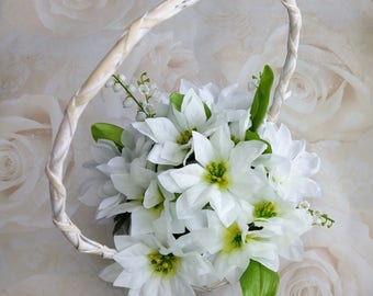 Flower girl basket, bridesmaid basket, rustic basket, silk poinsettia basket, boho wedding, bridal basket, boho flowers, country wedding