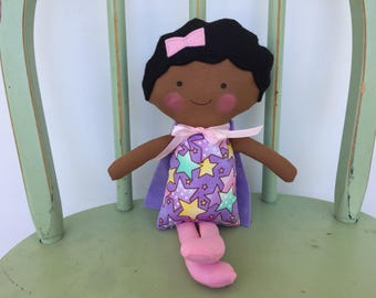 "Biracial, little girl ""Super Hero"" doll, perfect for imaginative play!"
