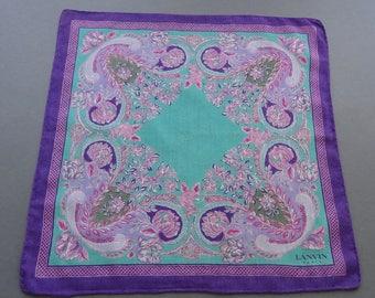 Vintage Signed Lanvin Paris Cotton Hankie Handkerchief