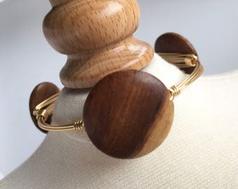 Round Wood Wire Wrapped Bangle, Wire Wrap Bangle, Wire Wrapped Bracelet, Wire Bangle, Stackable Bangle