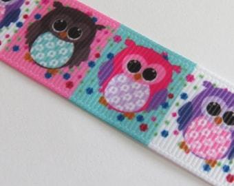 Cute colorful owls grosgrain Ribbon