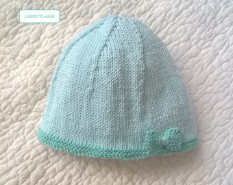 All cotton baby hat size 3 months two-tone aqua green knit bow