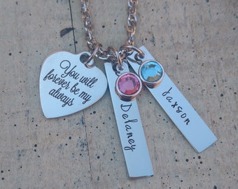 Custom Couple's Necklace /  Girlfriend Boyfriend Name and Birthstone Necklace /  personalized Couple's Necklace  /  Couple's 2 name Necklace