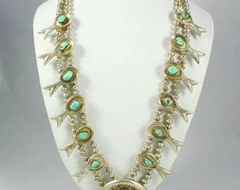 Vintage Squash blossom necklace | sterling silver turquoise Navajo bench bead necklace