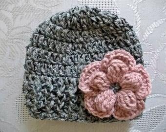 Baby girl hat Wool baby hat Gray baby girl hat Newborn girl outfit Newborn girl hat Baby girl beanie Girls winter hat Crochet baby hat