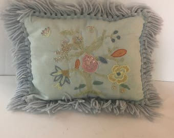 Vintage Blue Crewel Pillow with Floral Embroidery and Yarn Fringe