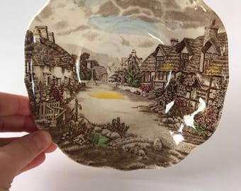"Vintage Johnson Brothers Ironstone Olde English Countryside Square Cereal Bowl - 6 1/4"" - Made in England"