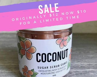 Coconut Sugar Scrub Cubes.8 ounce jar
