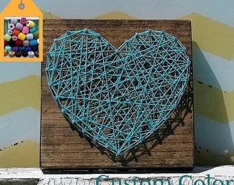 HALF PRICE SALE String Art Heart on Stained Wood, Handmade by Nailed It Designs, Unique Gift Under 15, Wood Wall Sign, Heart Sign, Trendy Ho