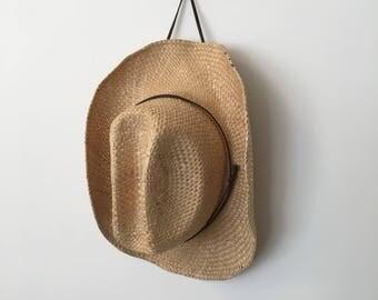 Vintage Straw Hat, Straw Cowboy Hat, Straw Sun Hat, Wide Brimmed Hat, Boho, Bohemian