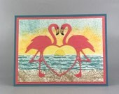 Pink Flamingo Congratulations Card - Tropical  Sunset Card - Hand Stamped Card - Stampin Up Card - Tropical Beach Card - Beach Sunset