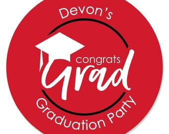 Red Grad - Best is Yet to Come - Graduation Party Sticker Labels - 2018 Red Graduation Circle Stickers - Red Grad Party Supplies - 24 Ct.