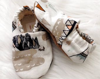 Tan Teepee Shoes, Soft Sole Shoes, Crib Shoes, Slip Ons, Slippers