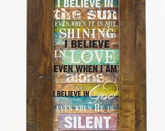 SALE I Believe In The Sun blocking Wall Decor Framed Picture