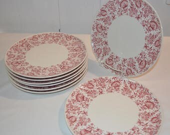 "SET of 8 - Dinner Plates - 10"" - Carefree True China - Syracuse Roxbury Mayfair - White with Red Burgundy Flower - Railroad Restaurant Ware"