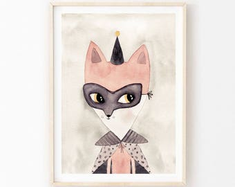 Indi fox - Children's art. Watercolor fox wearing mask and cape. A4 Print