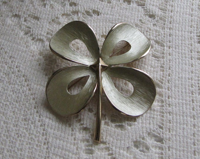 Shamrock Four Leaf Brooch Brushed White Gold Toned Larger Flower Lapel Pin Women's Accessories and Vintage Jewelry Stocking Stuffer