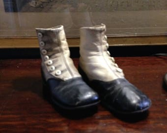 Victorian Child's Black and White Leather Button High Top Boots/ Shoes  with Button Hook Home Decor Shop Display