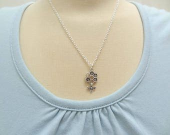 Silver Honeycomb and Bee Necklace - Ready to Ship
