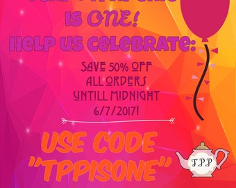 HALF-OFF CODE for anniversary sale, valid 6/7/17 only!