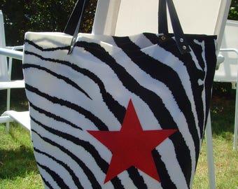 MINI tote bag - Zebra and red stars