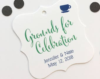 Grounds for Celebration Favor Tags, Tea or Coffee Cup Wedding Favor Tags, Wedding Hang Tags  (FS-092)