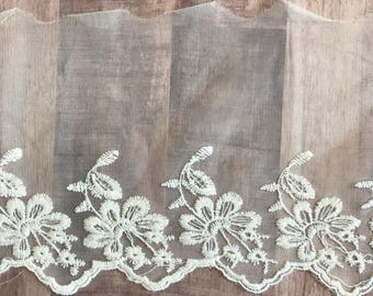 "OFF WHITE, 6"" Wide, Embroidered Lace Trim, BTY By The Yard"