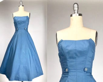 Vintage 1940s Blue Gown // Strapless 40s A-line Bustier Dress