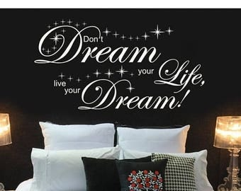 20% OFF Summer Sale Live your Dream wall decal, sticker, mural, vinyl wall art