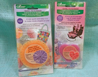 Clover Quick Fabric Yoyo Maker Small Heart or Large Round Easy to use!