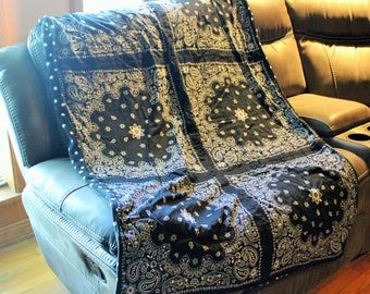 Bandana Quilt- Black- black and white dots-Handmade Blanket- Throw