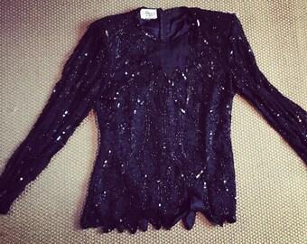 Black Sequin Blouse