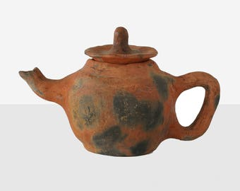 handmade teapot, handmade pottery teapot, decorative teapot, clay teapot, vintage clay teapot, handmade pottery, vintage pottery teapot