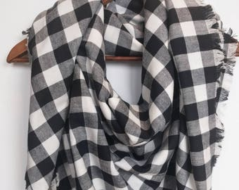 Buffalo Plaid Blanket Scarf, Black and White, Valentines Day Gift, Large Winter Scarf, Trendy Girlfriend Gift Cotton Flannel Scarf For Women