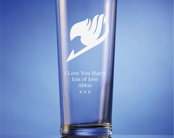 FAIRY TAIL Inspired Personalised Sand Etched Glass Gift - Choose From 5 Different Glass Gift Styles