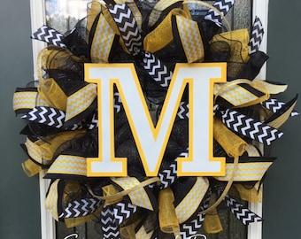 Custom School Wreath,Your School Colors,College Wreath,High School Wreath,Football Deco Mesh Wreath,Black & Gold,Front Door Wreath Initial