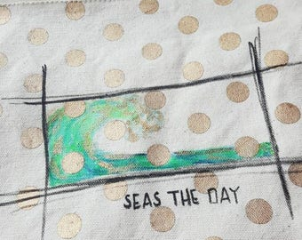 "Handpainted Large Zippered Polka Dot Pouch. ""Seas The Day"""