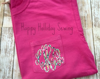 Monogrammed Comfort Colors Raspberry Shirt