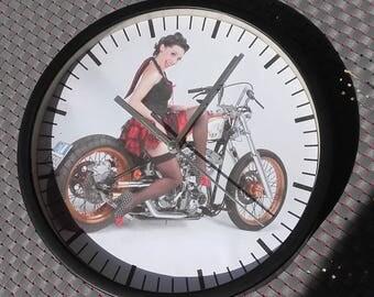 clock wall pinup girls retro vintage motorcycle design